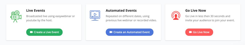 Easy Webinar webinar platform offers a go live now event type