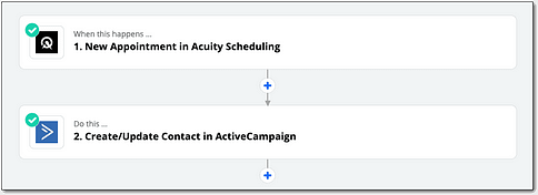 Zapier allows you to connect Acuity Scheduling with ActiveCampaign to create automated appointments data in your CRM